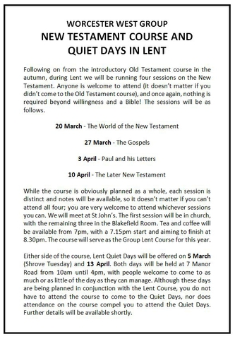 New Testament Course and Quiet Days in Lent
