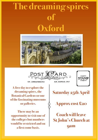 Coach Trip to Oxford POSTPONED